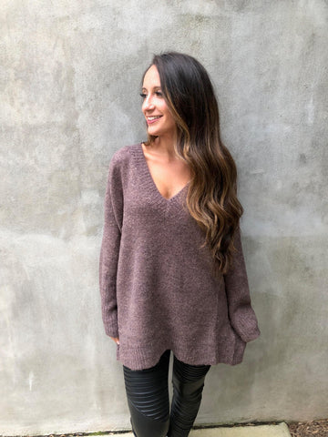 Extra Long V Neck Sweater-Coffee