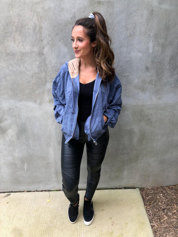 Blue Gray Bomber Jacket