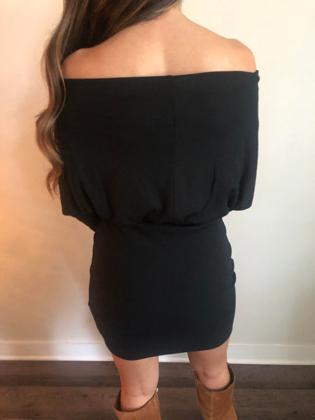 Batwing Off the Shoulder Dress-Black