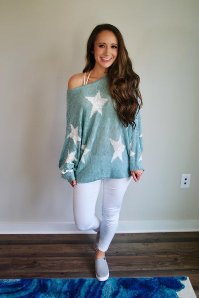 Light Blue Star Sweater