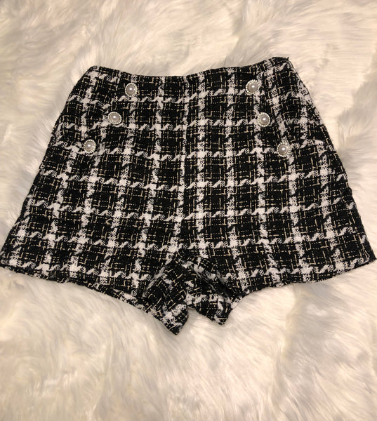 Black and White Patch Shorts