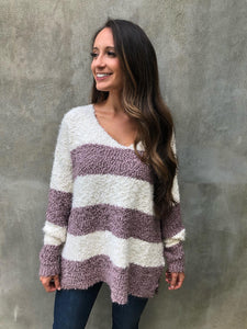 Mocha Striped Popcorn Knit Sweater