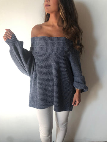 OTS Extra Long Sweater-BLUE