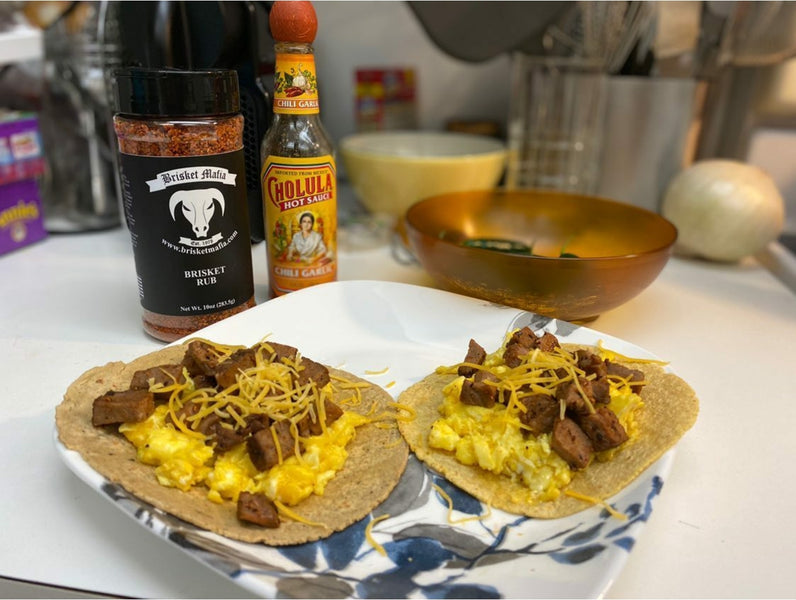 Steak and egg tacos seasoned with Brisket Mafia Rubs!