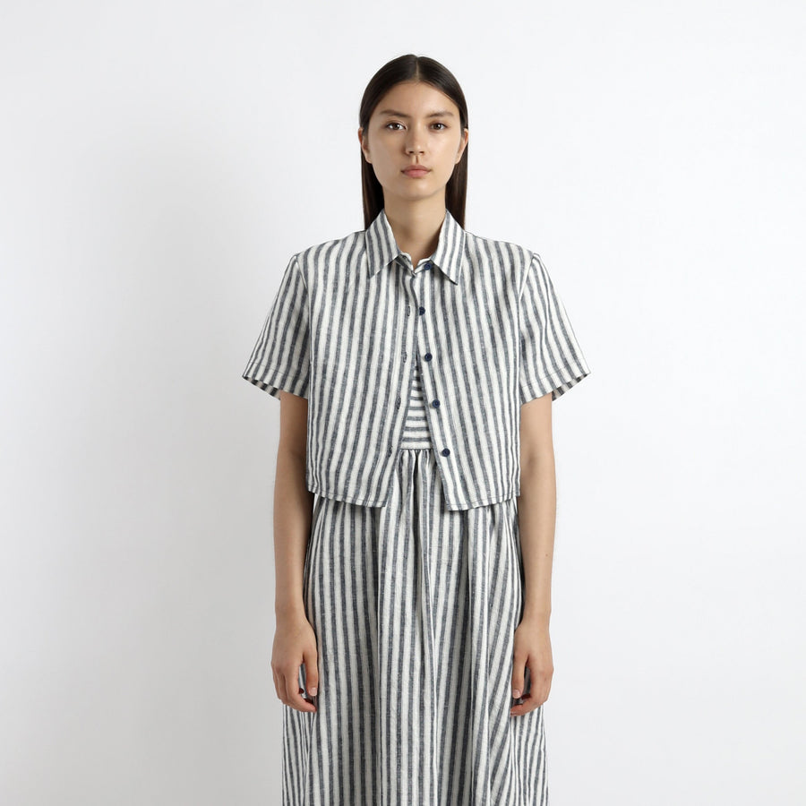 Striped Cropped Button Down - SS21 - Wide-Stripes