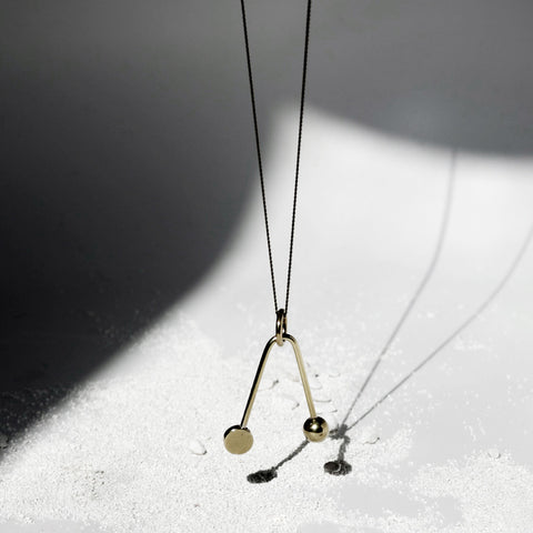 Disc + Sphere V Necklace J16