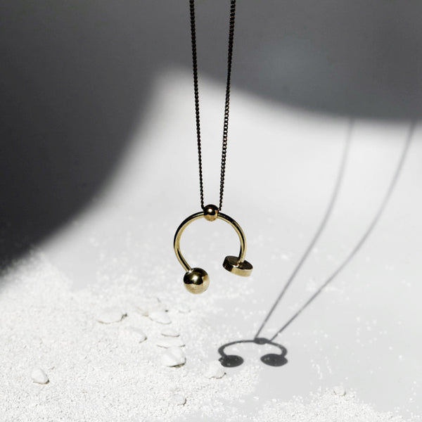 Disc + Sphere U Necklace J16