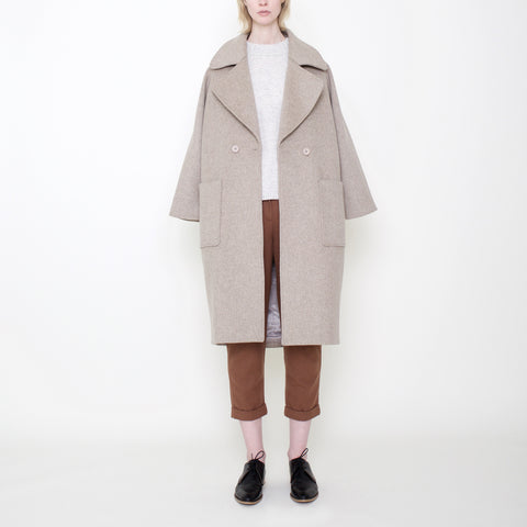 Signature Long Wool Coat - Oatmeal - FW17