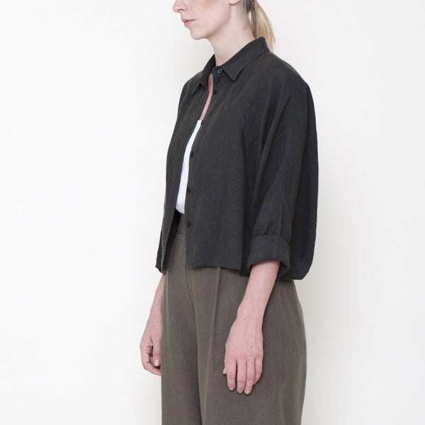 Signature Linen ¾ Cropped Shirt Jacket - Black