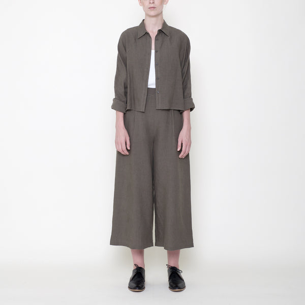 Signature Linen ¾ Cropped Shirt Jacket - Moss
