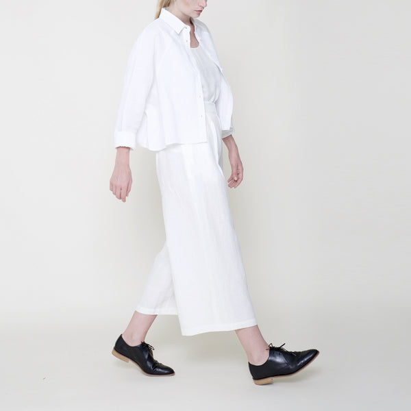 Signature Linen ¾ Cropped Shirt Jacket - Off-White
