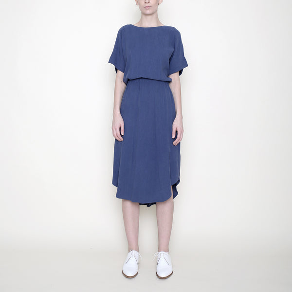 Drawstring Reversible Dress - Blue - SS18