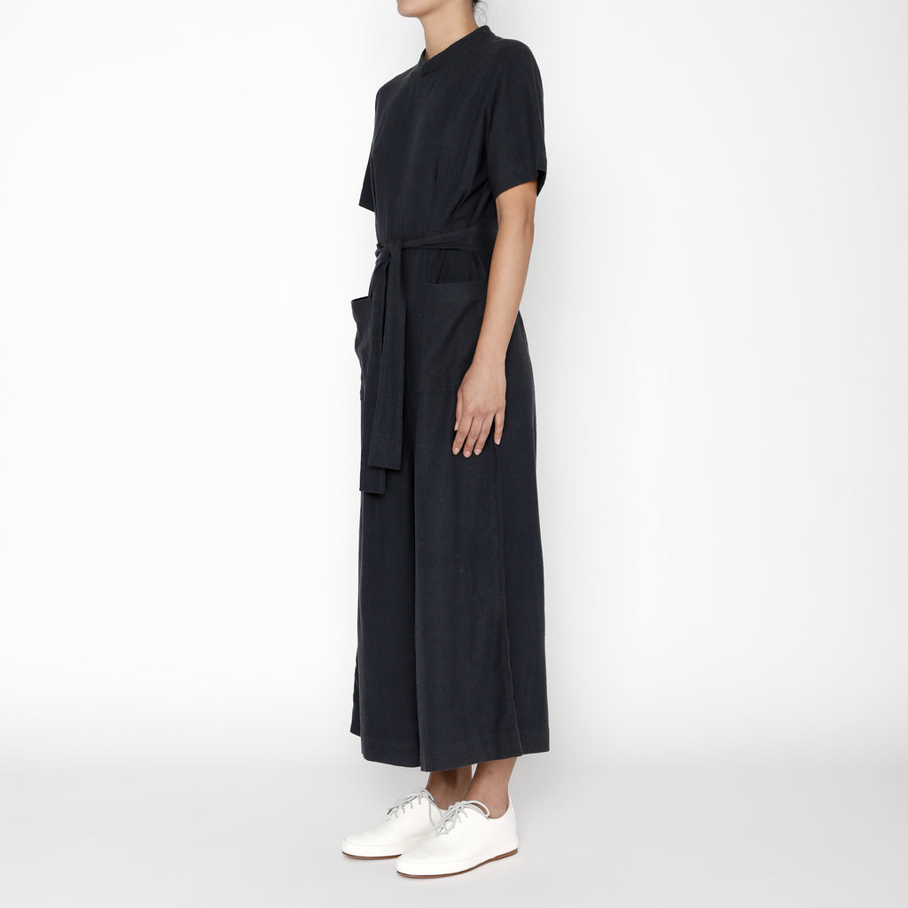 Raw Silk Mandarin Jumpsuit - FW19 - Navy