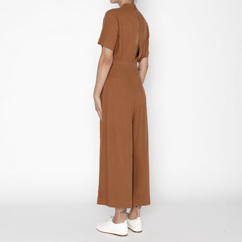 Raw Silk Mandarin Jumpsuit - FW19 - Rust