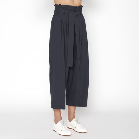 Pleated Raw Silk Trouser - FW19 - Navy