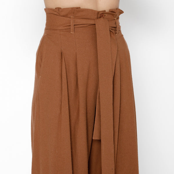 Pleated Raw Silk Trouser - FW19 - Rust