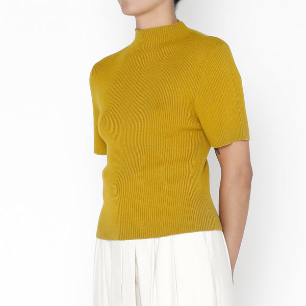 Mockneck Fitted Ribbed Tee - Cotton - FW19 - Chartreuse