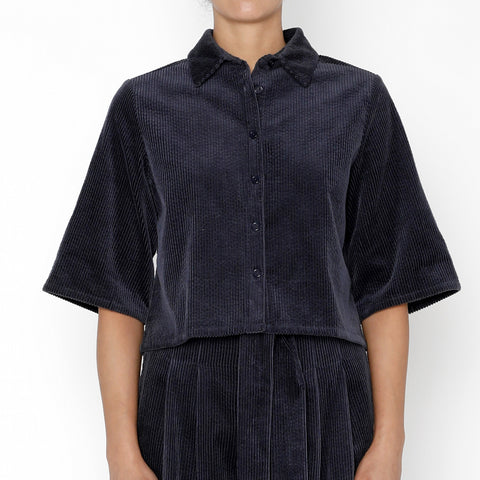 Corduroy Back-Pleated Button Down - FW19 - Midnight Blue