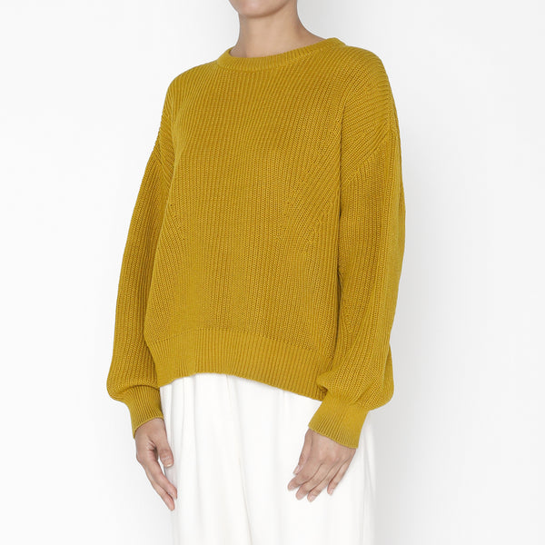 Poet Sleeves Cotton Sweater - FW19 - Chartreuse