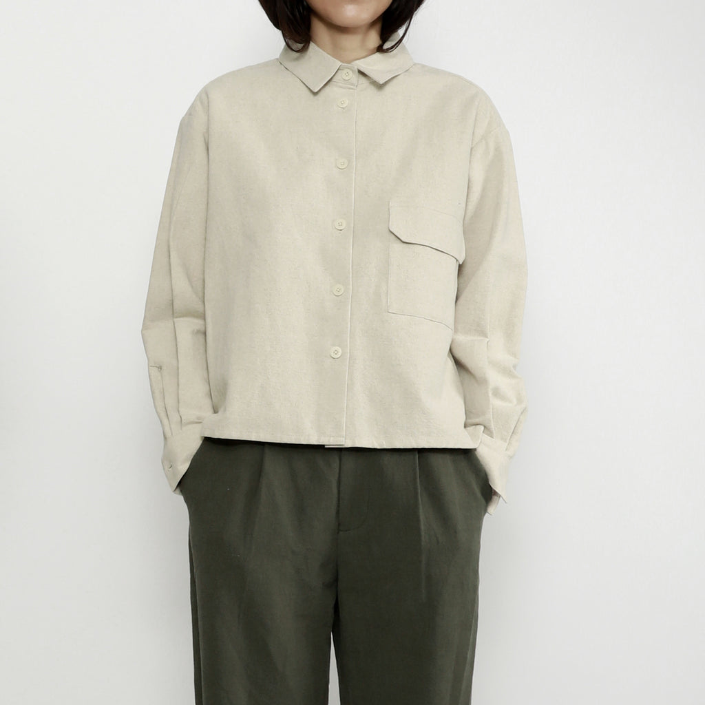 Unisex Pocket Flat Hem Button Up - Color Options