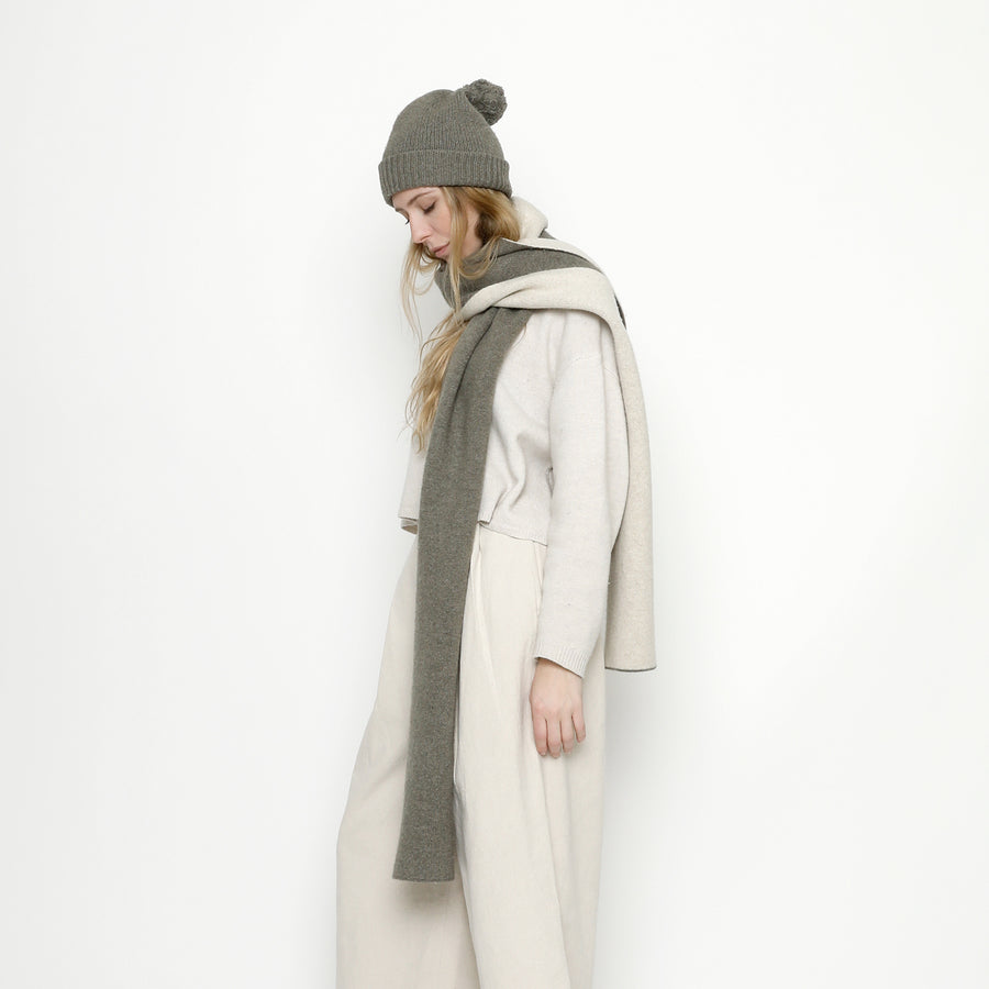 Double Sided Scarf - FW20 - Gray + Cream