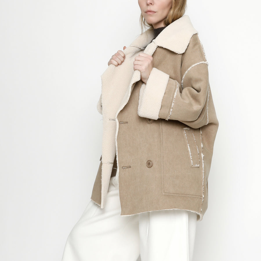 Canvas Fleece Short Coat - FW20 - Tan