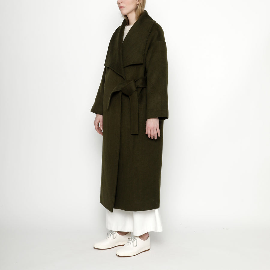 Lapel Long Wool Coat - FW20 - Olive