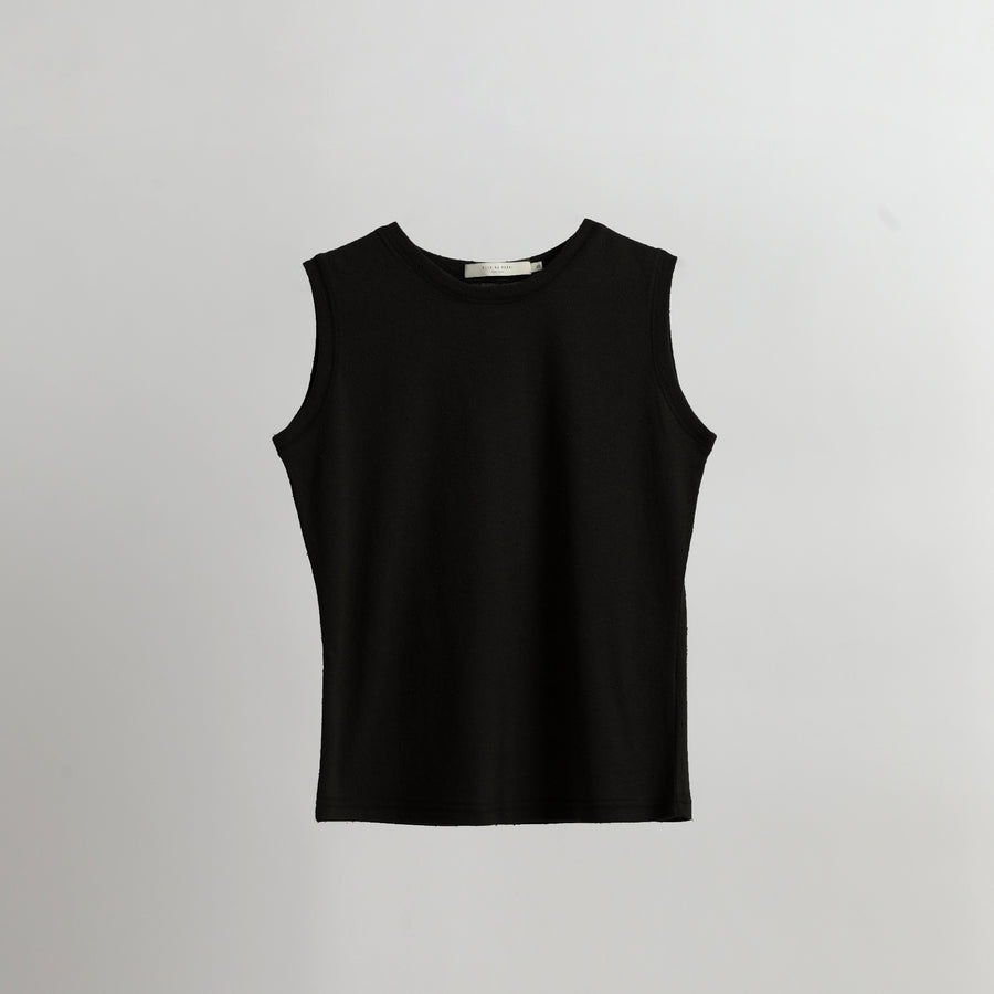 Signature Textured Linen Tank - Black