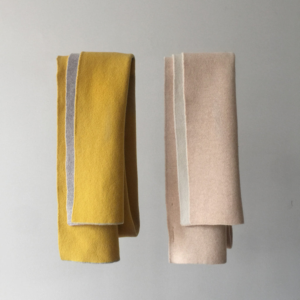 Double Side Long Scarf - CPH Edition - Yellow/Taupe