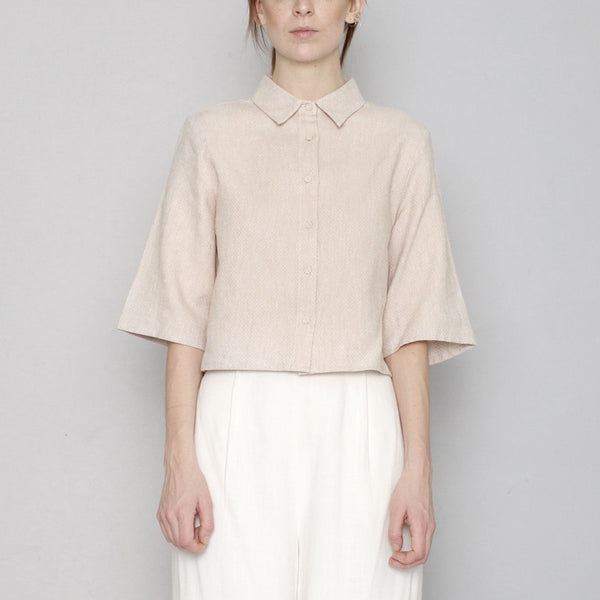 Back Pleated Shirt - Blush - SS17