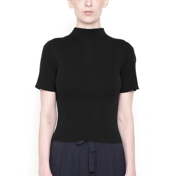 Mock-Neck Fitted Ribbed Tee - Cotton - Black - FW18