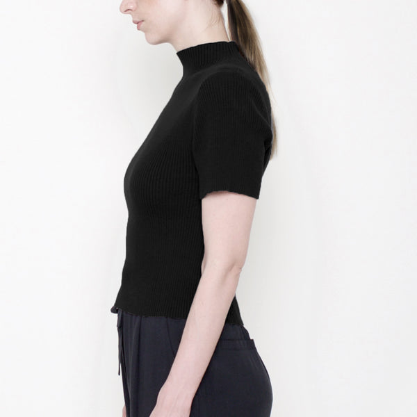 Mock-Neck Fitted Ribbed Tee - Black - Signature