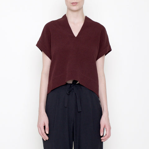 V-Neck Cropped Top - Maroon - FW17