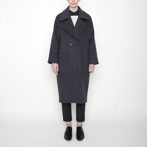 Signature Long Wool Coat - Charcoal - FW17