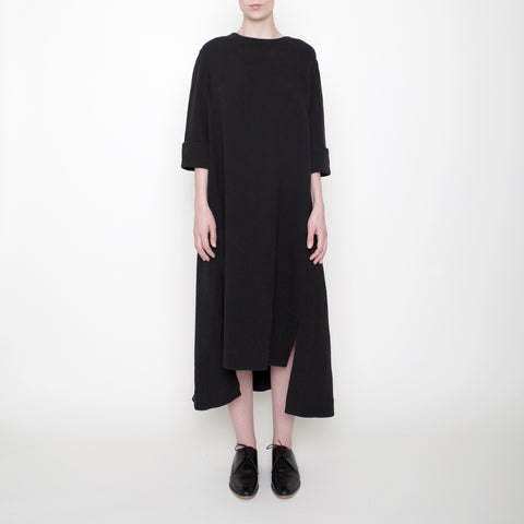 Square Hem Midi Dress - Black - FW17