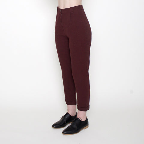 Cotton Cropped Trousers - Maroon - FW17
