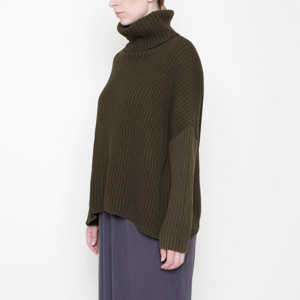 Ribbed Turtleneck Sweater - Moss - Holiday17