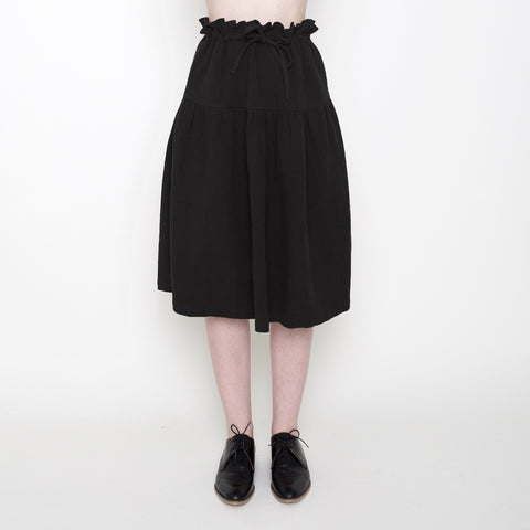 Drawstring A-Line Skirt - Black - FW17
