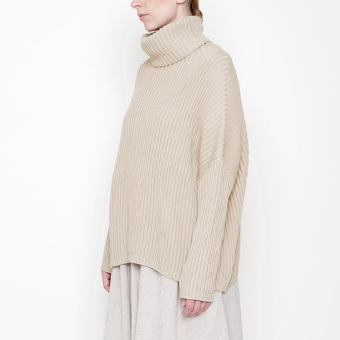 Ribbed Turtleneck Sweater - Oatmeal - Holiday17