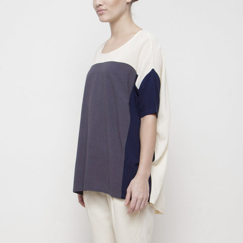 Color Block Short Sleeve Top SS15 - Cream