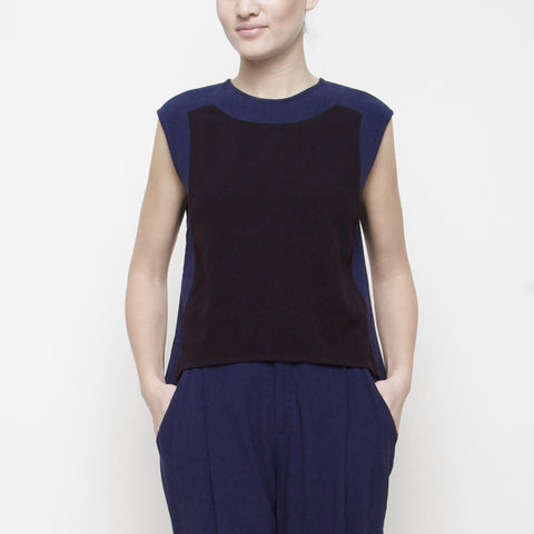 Color Block Cropped Top SS15 - Black/Navy