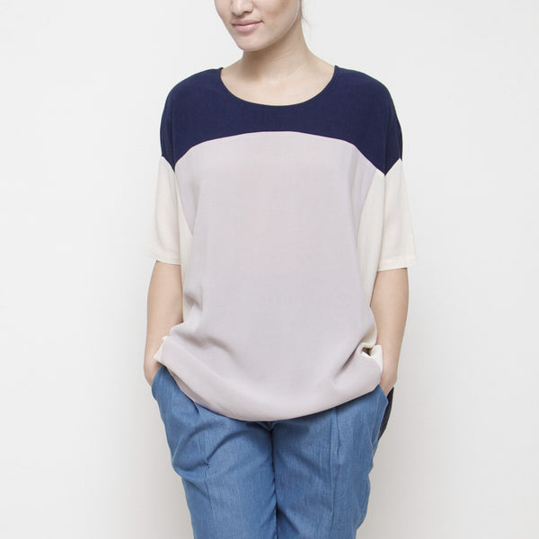 Color Block Short Sleeve Top SS15 - Navy