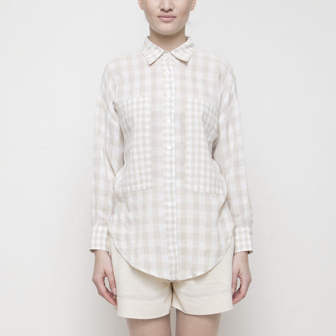 Gingham Dolman Button Down SS15 - Cream