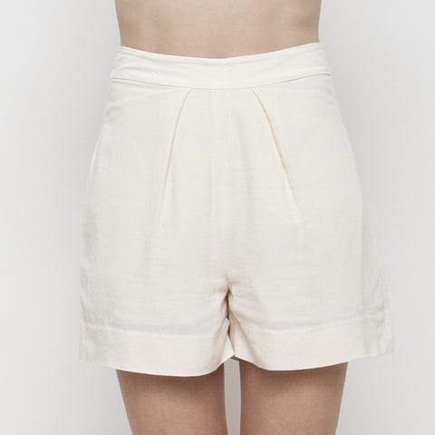Pleated Shorts SS15 - Cream