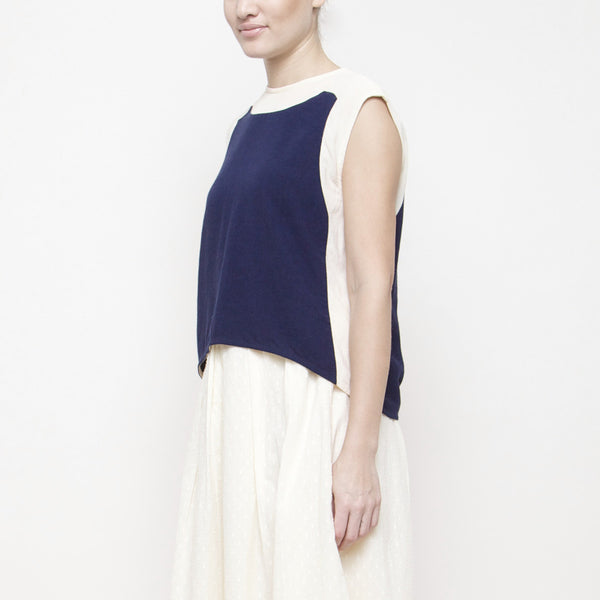 Color Block Cropped Top SS15 - Navy/Cream