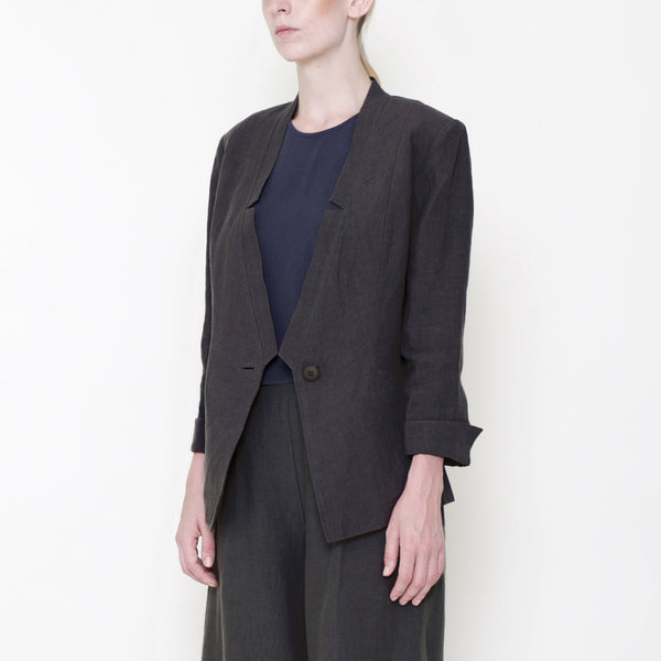 Signature Linen Deconstructed Blazer - Black