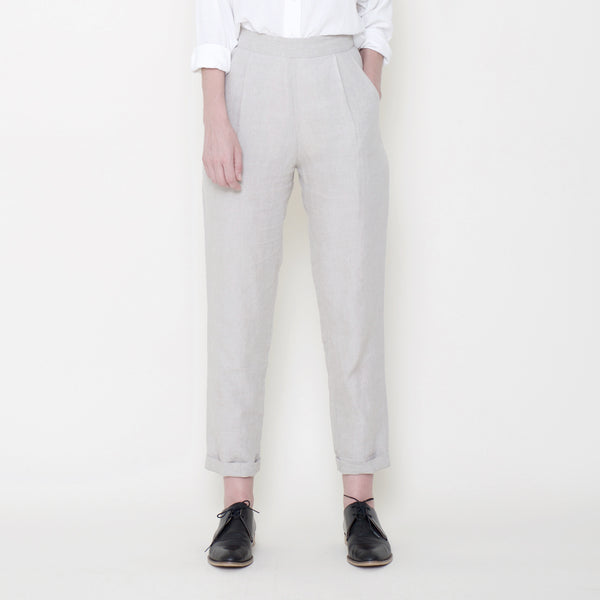 Signature Linen Relaxed Tapering Trouser - Oatmeal