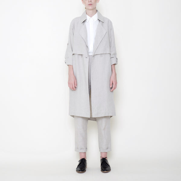 Signature Linen Trench Duster - Oatmeal