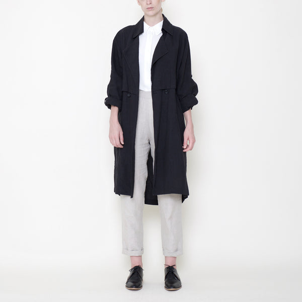 Signature Linen Trench Duster - Black