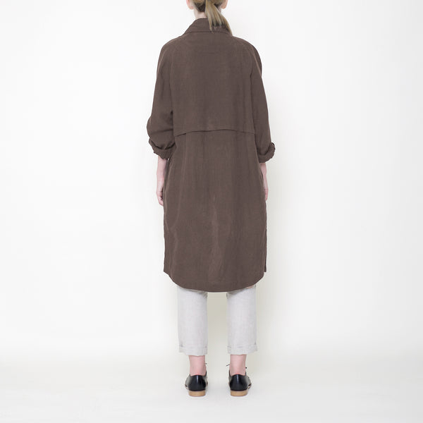 Signature Linen Trench Duster - Moss
